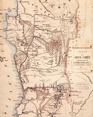 Mapa de la Pacificación de la Araucanía.