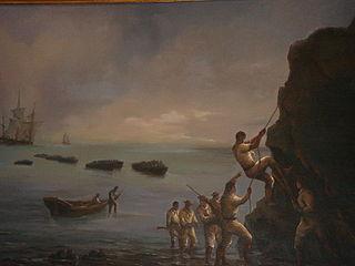 Óleo representando la toma de Valdivia, conservado actualmente en el Museo Naval y Marítimo de la Armada de Chile.